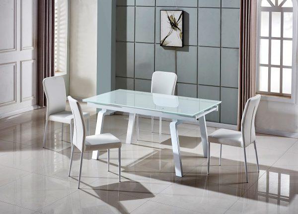 Большой обеденный стол раздвижной из белого стекла модель-163