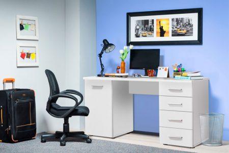 שולחן מחשב דגם LIDA לבן עם מגירות סגורות