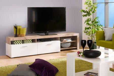 שידת טלוויזיה לסלון דגם FIONA בשילוב עץ אפור ולבן