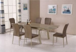 שולחן אוכל זכוכית נפתח דגם-163