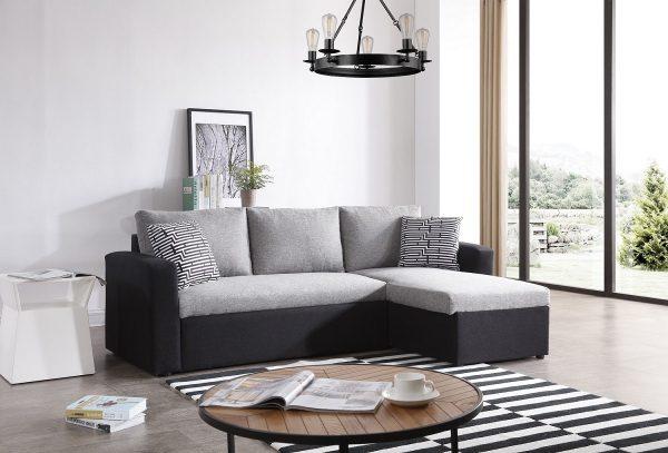 Угловой небольшой диван LETTY-BLACK с двухспальной кроватью