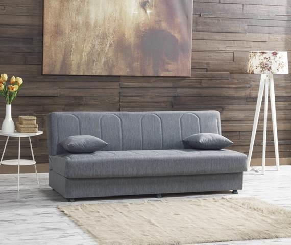 Небольшой раскладной диван модель JOFFREY ткань серая