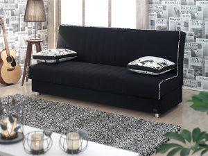 ספה נפתחת למיטה דגם TAMAR מעוצבת בד שחור