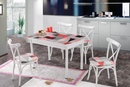פינת אוכל מעוצבת דגם KONGO כולל 4 כסאות