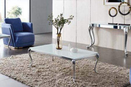 שולחן יוקרתי לסלון מעוצב זכוכית לבנה דגם-783