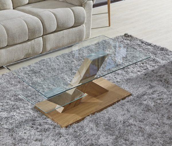 הגדול שולחן סלון מעוצב זכוכית דגם 741 עם רגליים מעץ | שולחנות סלון Taburet QF-27
