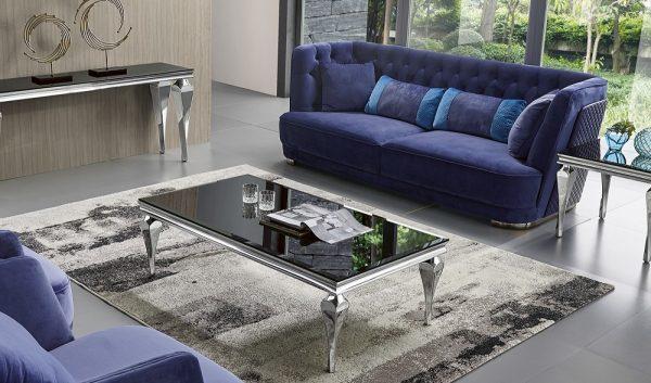 שולחן יוקרתי לסלון דגם-951 מעוצב זכוכית שחורה