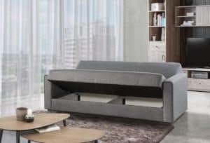 ספה נפתחת למיטה מעוצבת בד אפור MATRIX