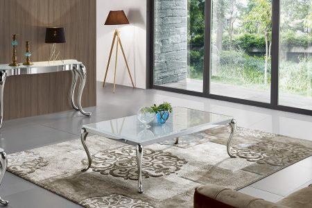 שולחן יוקרתי לסלון מעוצב זכוכית דגם-783