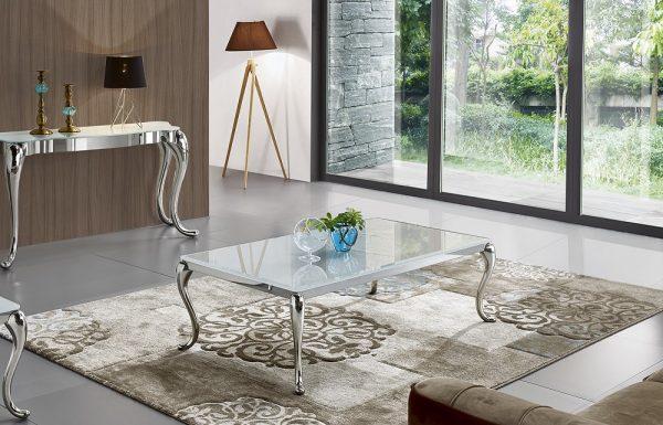 Журнальный стол из белого стекла модель-783