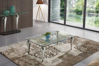 שולחן יוקרתי לסלון דגם-946 מעוצב זכוכית שקופה