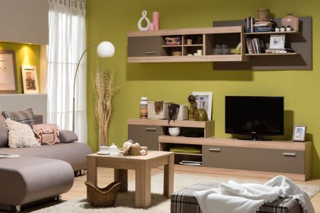 שידת טלוויזיה לסלון עם מדף תליה דגם GABI-עץ טבעי