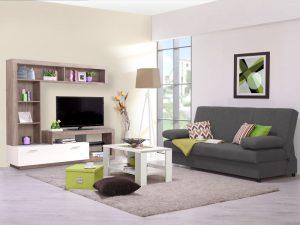 מזנון מעוצב לסלון דגם GALINA-עץ טבעי משלב לבן