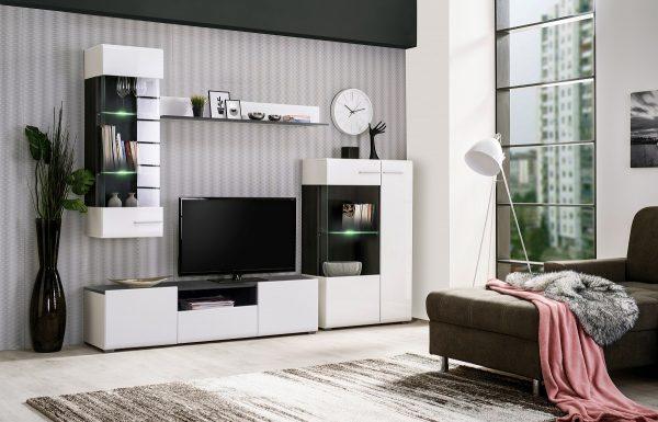 מזנון טלוויזיה מעוצב לסלון דגם OTTAWA עם תאורת לדים