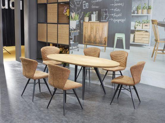 Овальный обеденный стол с 6 стульями модель Осло