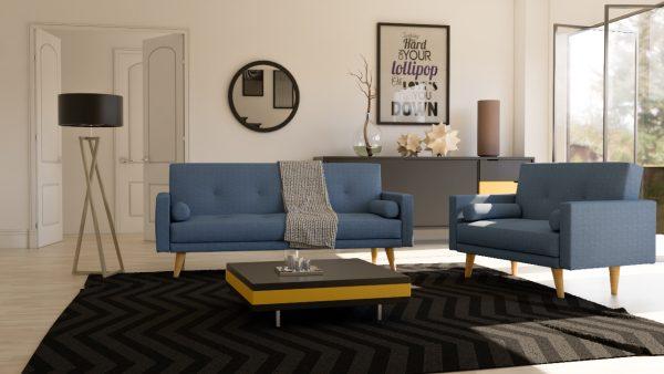 Мягкая мебель для гостиной 3+2 модель NICOLE-BLUE
