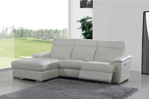 Угловой кожаный диван Leonardo с реклайнером