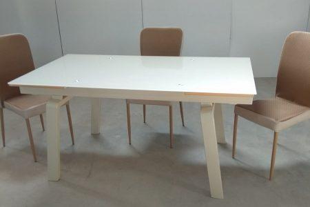 שולחן אוכל זכוכית נפתח דגם 163-קרם