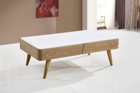 שולחן סלון מעוצב עץ וזכוכית עם מגירות דגם-829