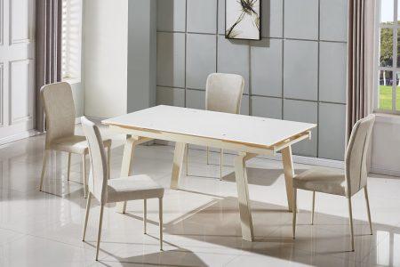 שולחן מטבח גדול נפתח מעוצב זכוכית דגם 163-קרם
