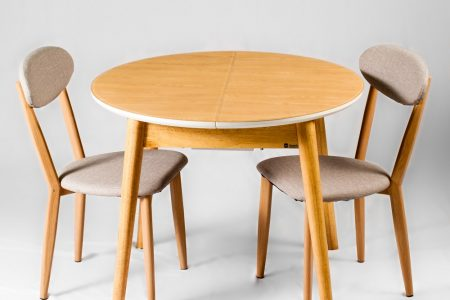 שולחן אוכל עגול למטבח מעוצב זכוכית דגם-30