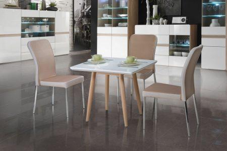 שולחן אוכל קטן מרובע למטבח דגם-22 מעוצב זכוכית