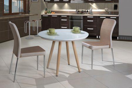 שולחן מטבח עגול קטן מעוצב זכוכית דגם-25
