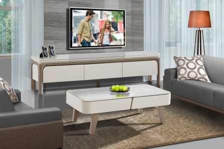 שידת טלוויזיה לסלון דגם ALMA בצבע לבן
