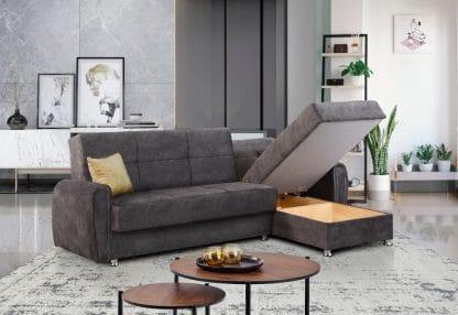 ספה פינתית מבד אפור נפתחת למיטה דגם LEO