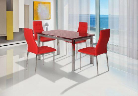 פינת אוכל זכוכית אדומה דגם OLGA כולל 4 כסאות