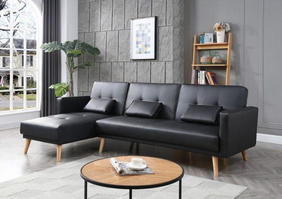 Кожаный угловой диван MARIA-BLACK