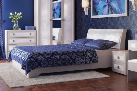 מיטה זוגית לבנה 160/200 דגם STELLA