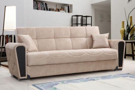 ספה מפוארת בד בז' דגם MARA