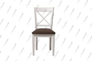 כסא אוכל לבן מעץ מלא דגם 37