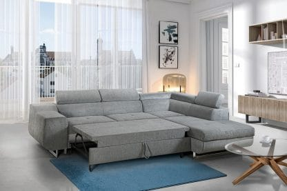 סלון פינתי בד אפור נפתח למיטה דגם MILANO