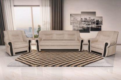 מערכת ישיבה 3+1+1 לסלון דגם MADRID בד בהיר