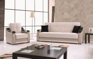 ספות נפתחות לסלון 3+2 בצבע שמנת דגם BELLA