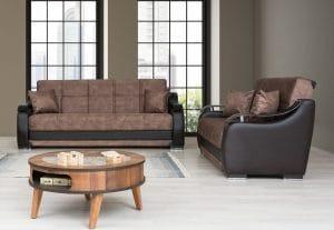 ספות 3+2 לסלון נפתחות בצבע חום דגם BELLA