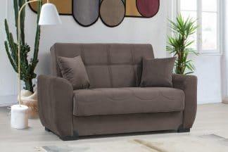 ספה דו מושבית בד חום עם ארגז מצעים MONA-2