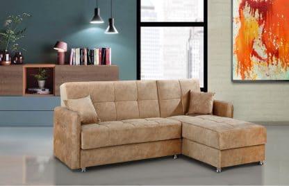 Маленький угловой диван со спальным местом ELVIS-CREAM