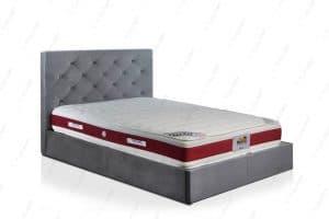 מיטה זוגית מרופדת בד אפור IMPERIAL